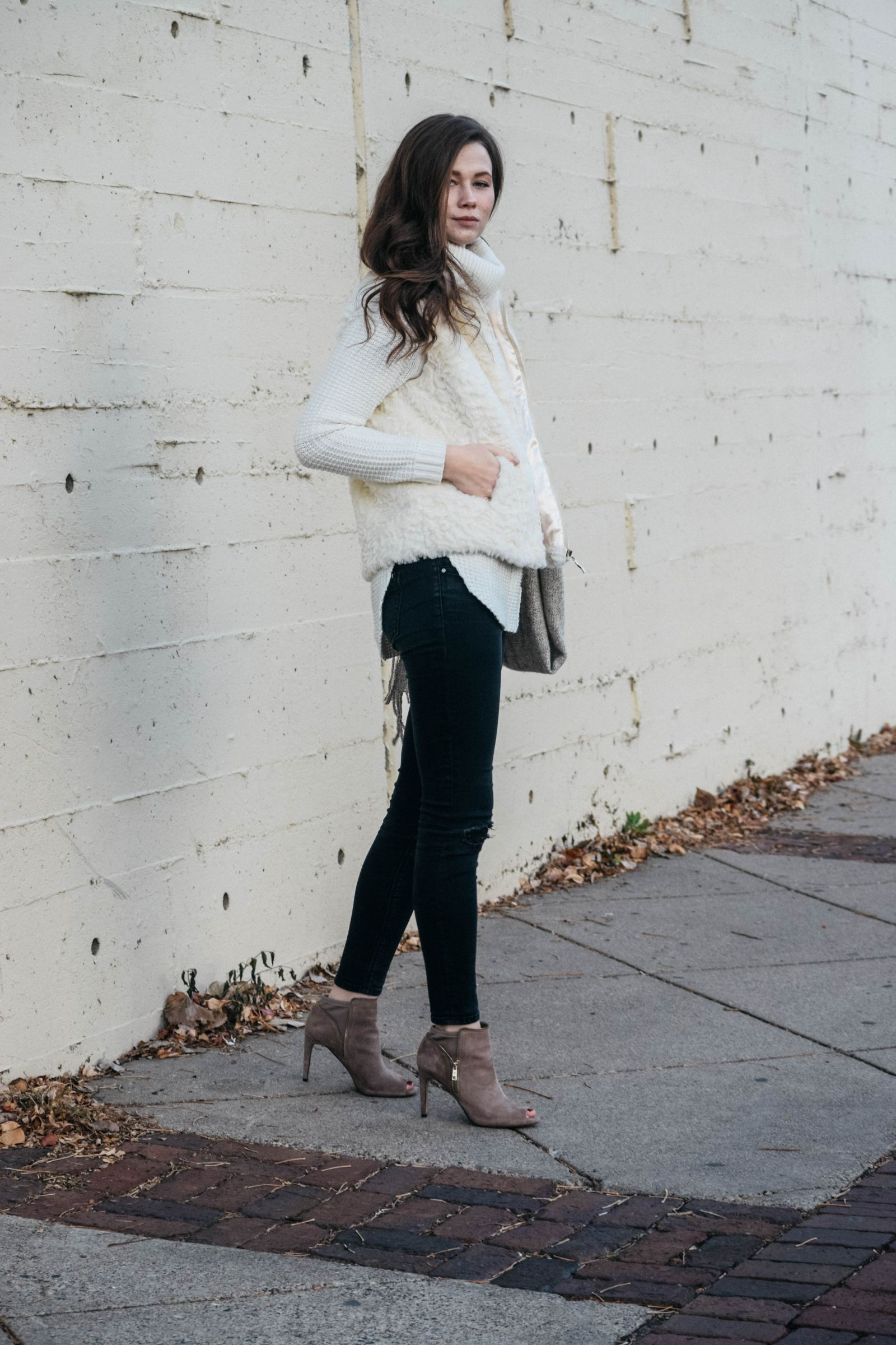 Faux Fur Vest, Holiday Style 2017, Winter Trends, Monochrome Minimalist Colour Series, Vince Camuto, Tan Heeled Booties, Ann Taylor