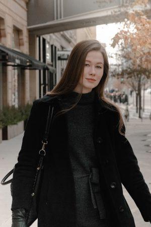 calvin klein coat, prologue sweater dress, monochrome minimalist